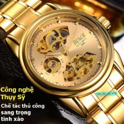 Đồng hồ lộ máy cơ cao cấp mạ PVD vàng kính sapphire chống nước Thụy Sĩ - Đồng hồ lộ- máy sapphire