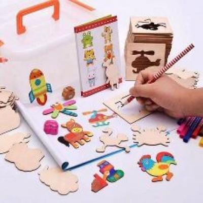 Bộ khuôn vẽ tranh và tô màu bằng gỗ cho bé ( mua88 shop )